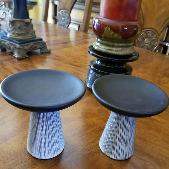 Handcrafted pottery candle holders